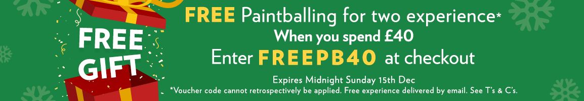 FREE Gift - Paintballing for two! Enter FREEPB30 in the checkout