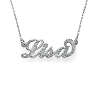 Diamond Cut Silver Personalised Name Necklace