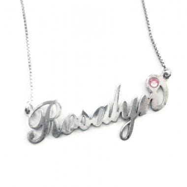 Swarovski Crystal Personalised Silver Name Necklace