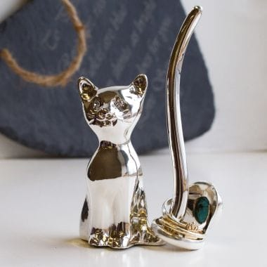 Silver Cat Ring Holder