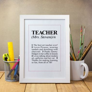 Personalised Teacher Dictionary Definition Print