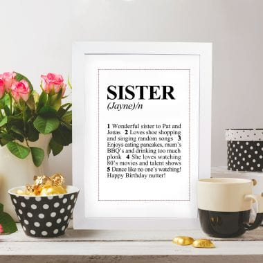 Personalised Sister Dictionary Definition Poster