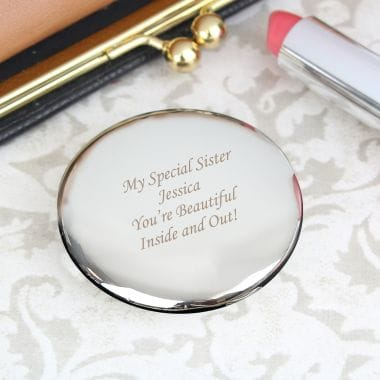 Silver Plated Personalised Compact Mirror