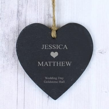 Personalised Slate Heart - small