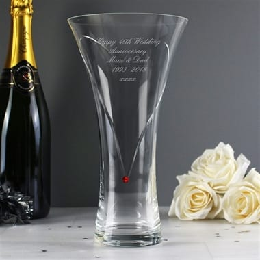 Personalised Ruby Diamante Heart Vase with Swarovski Elements