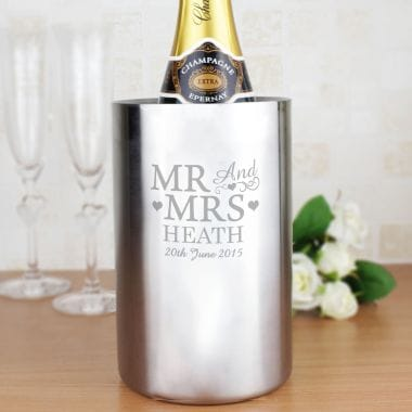 Mr and Mrs Engraved Wine Cooler