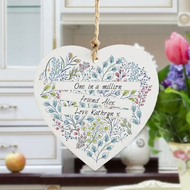 Personalised Botanical Wooden Heart