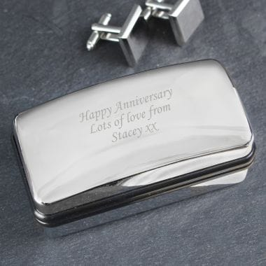Personalised Cufflink Box - Chrome