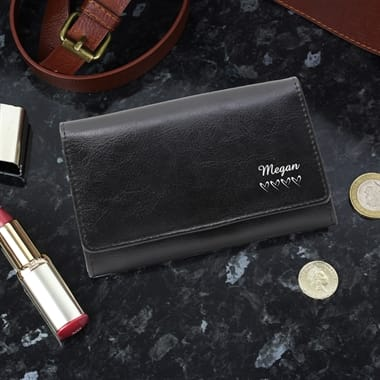 Black Personalised Leather Purse