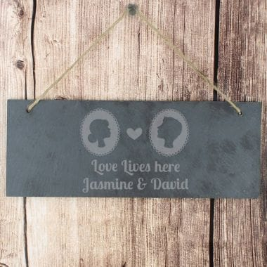 Personalised 'Cameo' Slate Door Sign