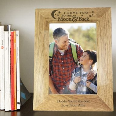 Personalised To the Moon and Back Wooden Photo Frame