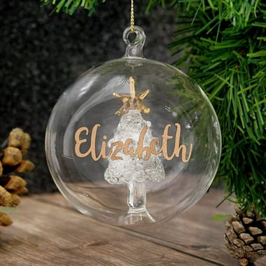 Personalised Glass Glitter Xmas Tree Bauble