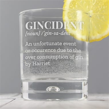 Personalised Gincident Gin Tumbler Glass