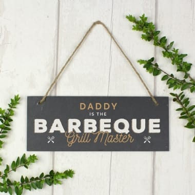 Personalised Barbeque Grill Master Hanging Slate Garden Sign