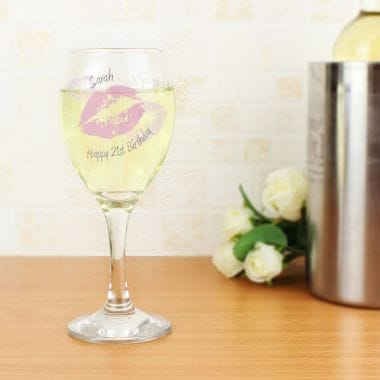 Personalised Wine Glass - Kiss
