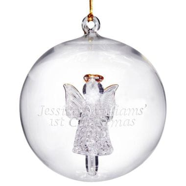 Personalised Glass Angel Christmas Bauble