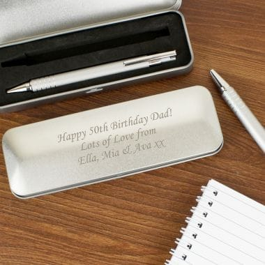 Personalised Pen Set With Engraved Box