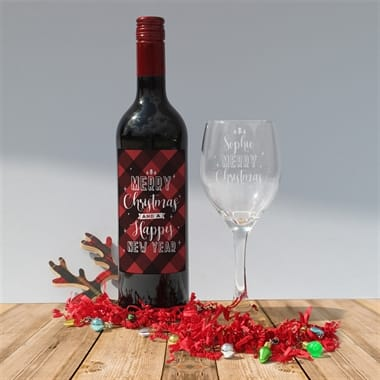 Merry Christmas Wine and Glass Set