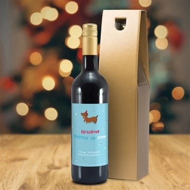 Personalised Christmas Wine with Novelty Label