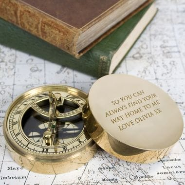 Personalised Adventurers Sundial and Compass