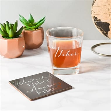 Usher Gift Set - Whisky Glass and Coaster