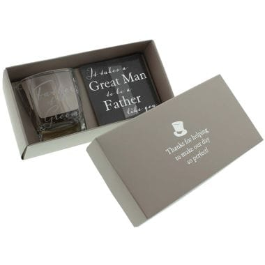 Father of the Groom Whisky Glass and Coaster