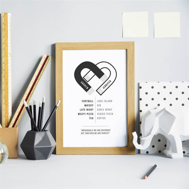 Personalised Opposites Attract Print