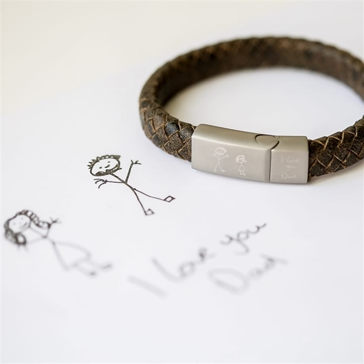 Personalised Antique Style Bracelet with Handwriting/Drawing Engraving