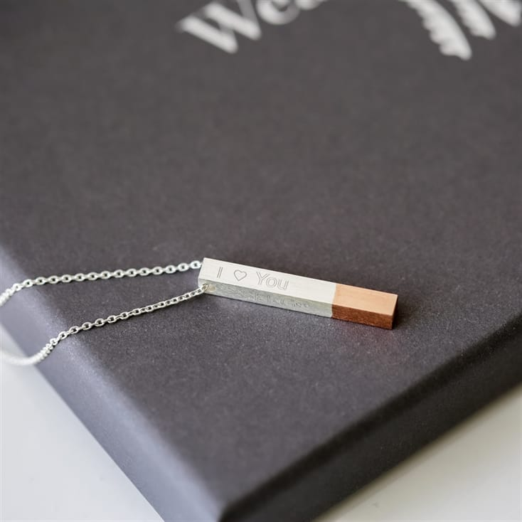 Personalised Engraved Rose Dipped Bar Necklace