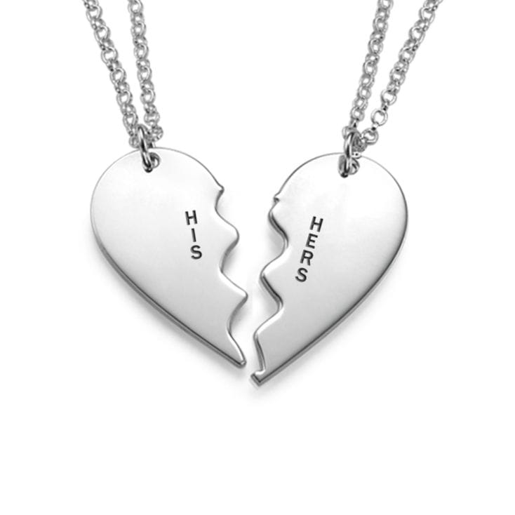 Personalised Split Heart Necklace