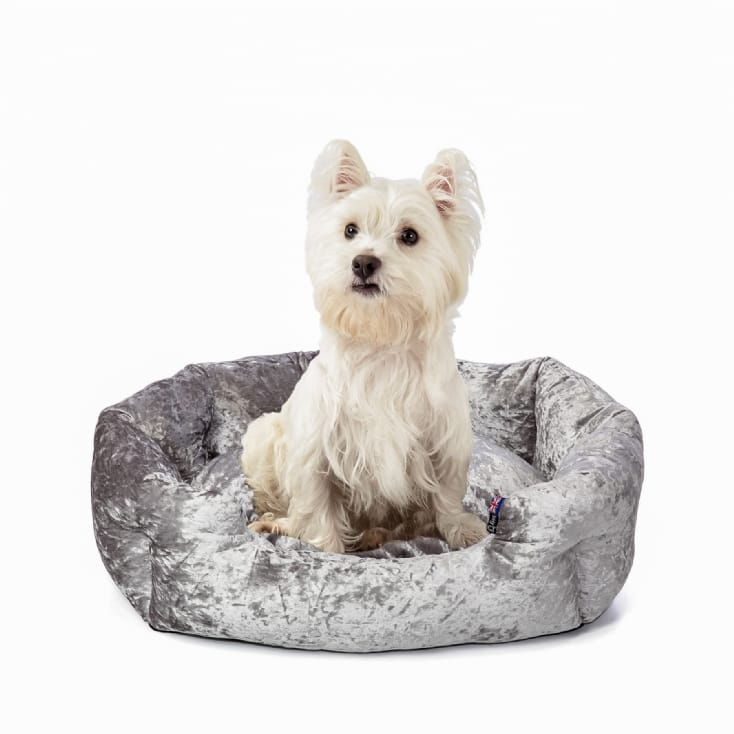 Personalised Crushed Velvet Dog Bed