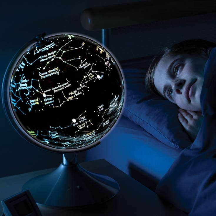 Illuminated Globe With Earth and Star Constellations