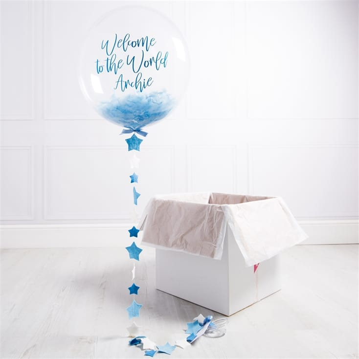 Personalised Blue New Baby Balloon