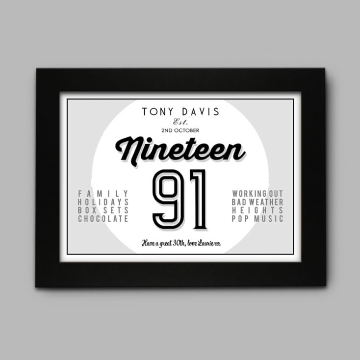 Personalised Loves & Hates 30th Birthday Print