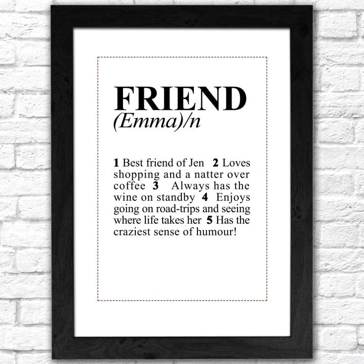 Personalised Friend Dictionary Print