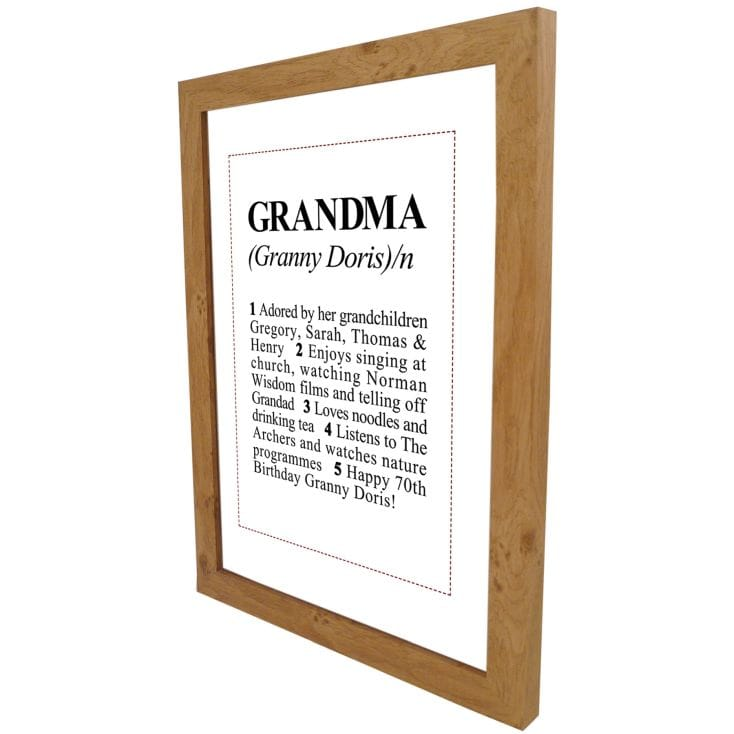 Dictionary Definition Personalised Grandma Print