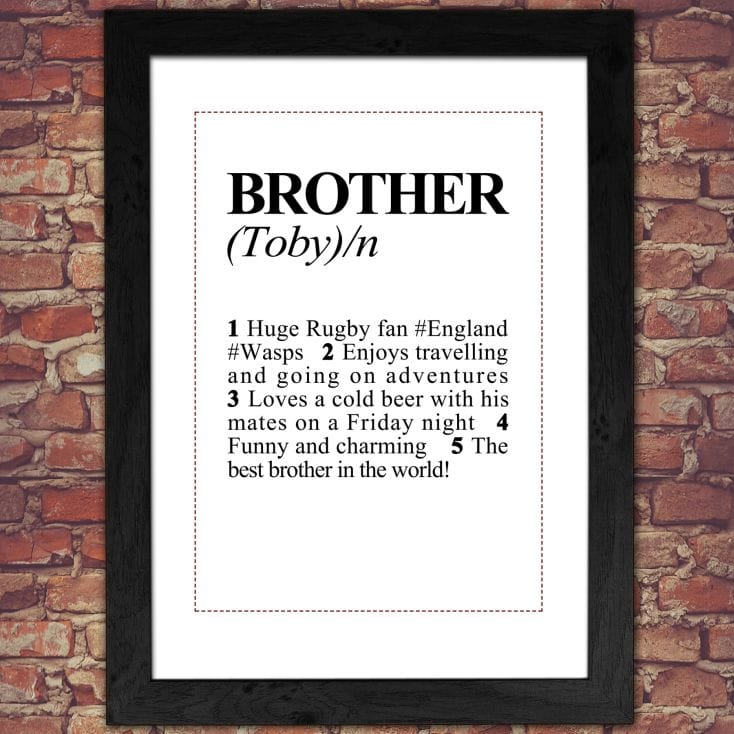 Personalised Brother Definition Print