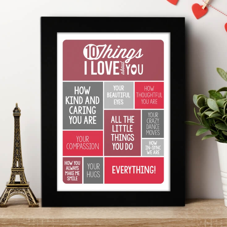 Personalised 10 Things I Love About You Poster