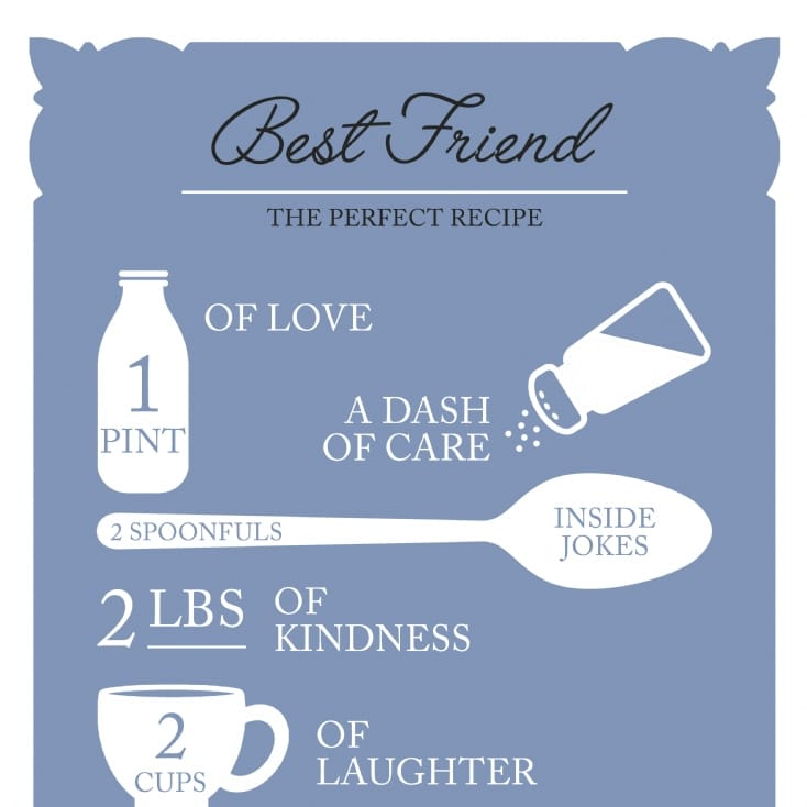 Personalised Best Friend Recipe Poster