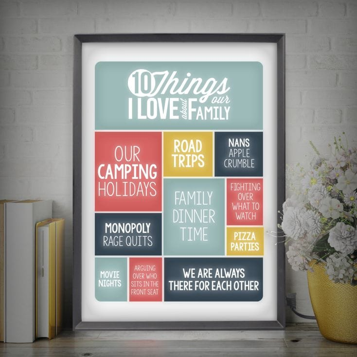 Personalised Light Box- 10 Things I Love About My Family