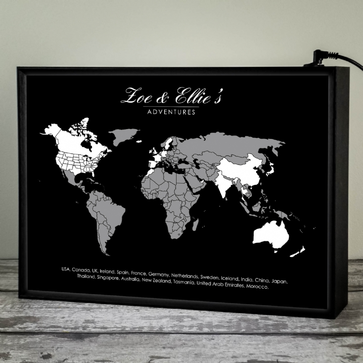 Personalised Light Box Adventures Map