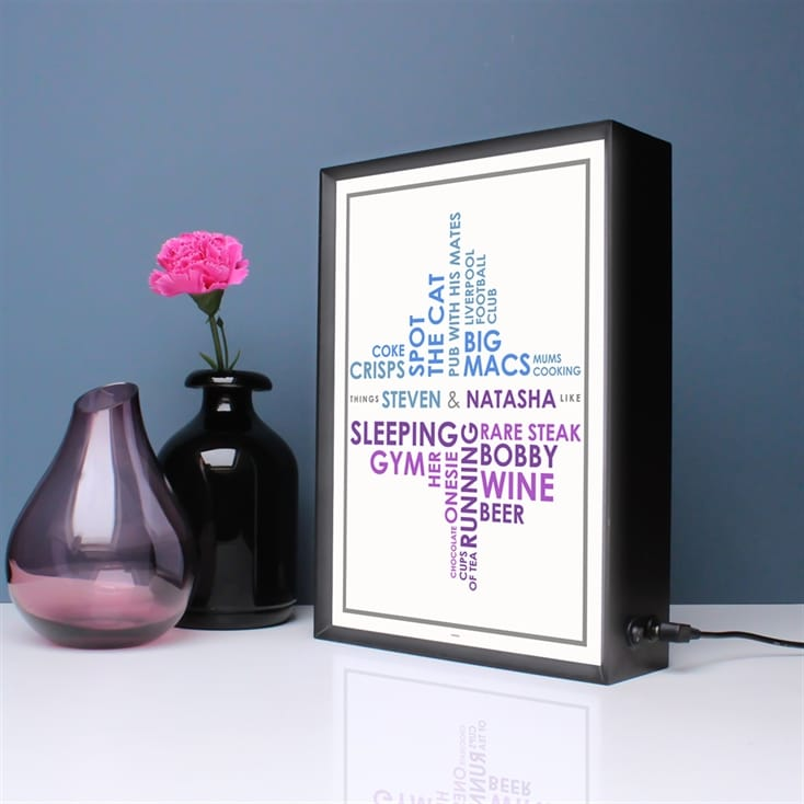 Couples Likes Personalised Light Box