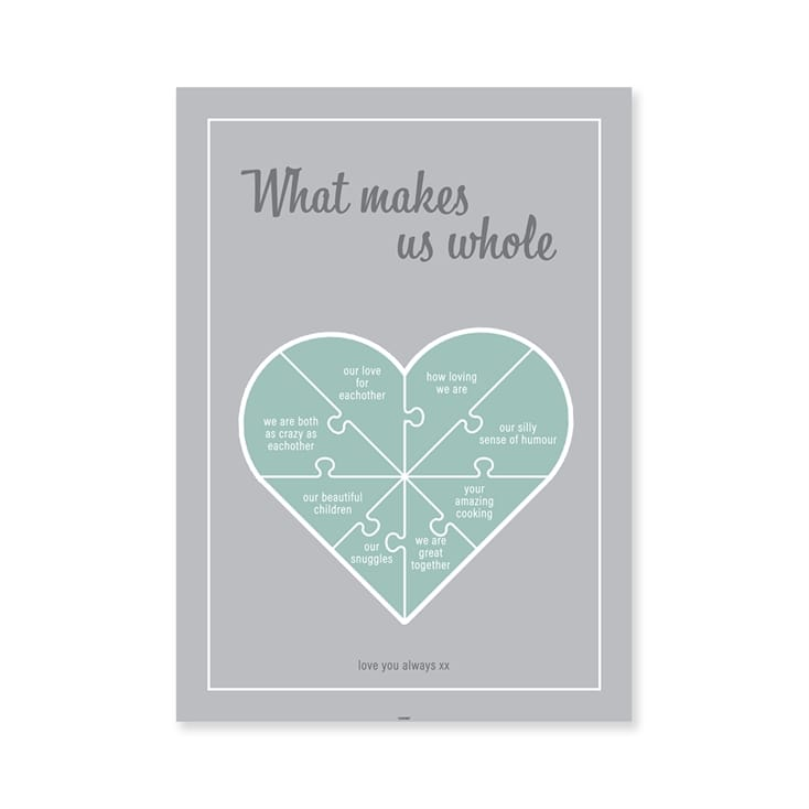Personalised Jigsaw Heart Poster