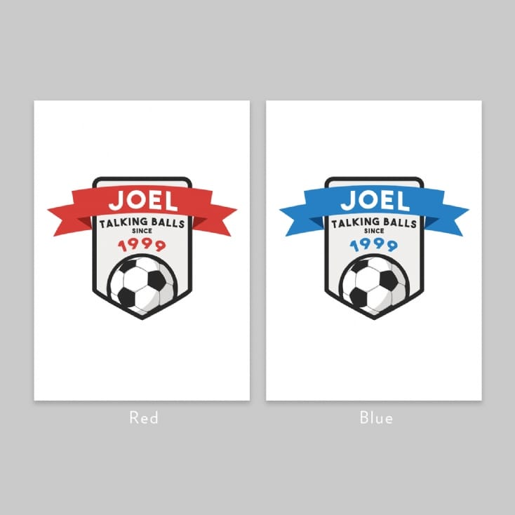 "Personalised ""Talking Balls"" Football Year Print"