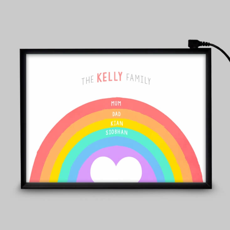 Personalised Rainbow Family Light Box