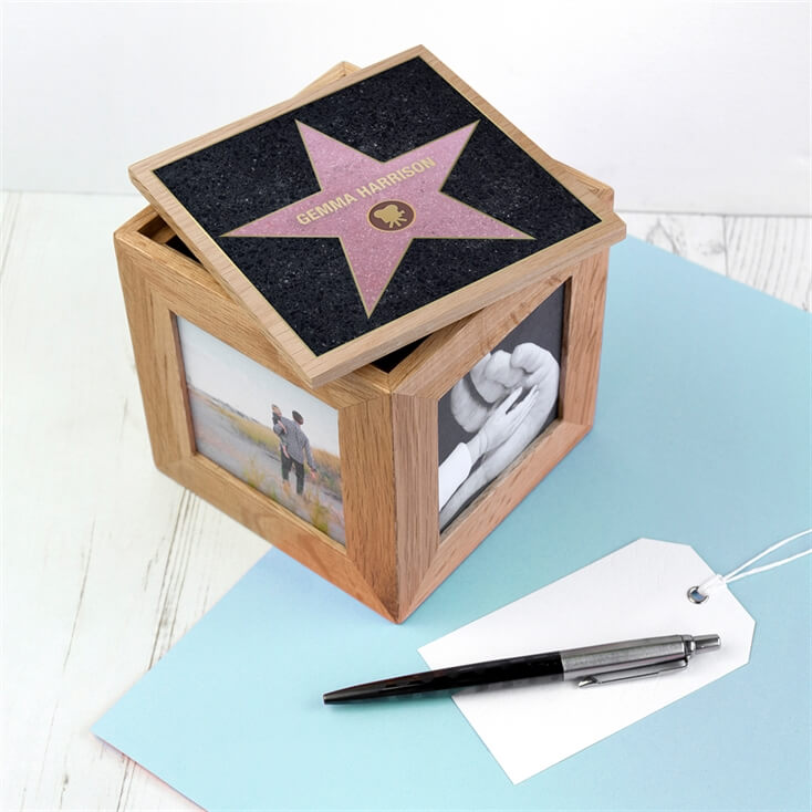Personalised Walk of Stars Wooden Photo Box