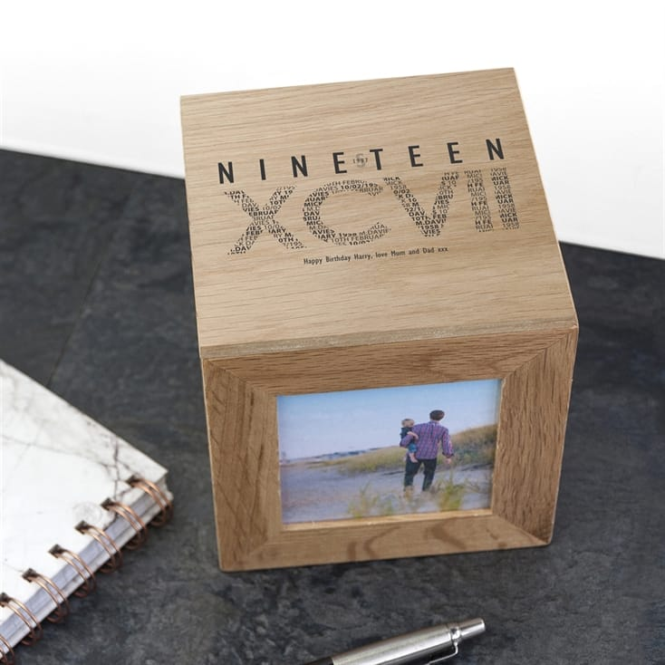 Personalised Roman Numeral Wooden Photo Box