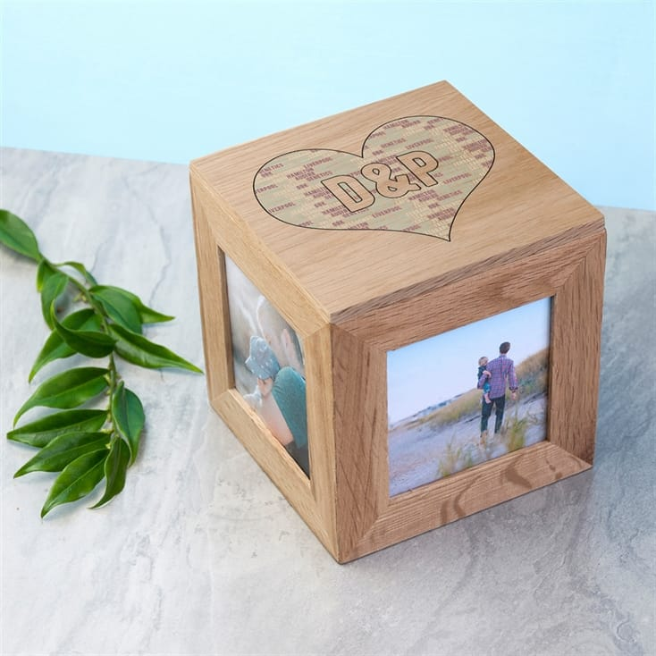 Couples Heart Personalised Photo Cube