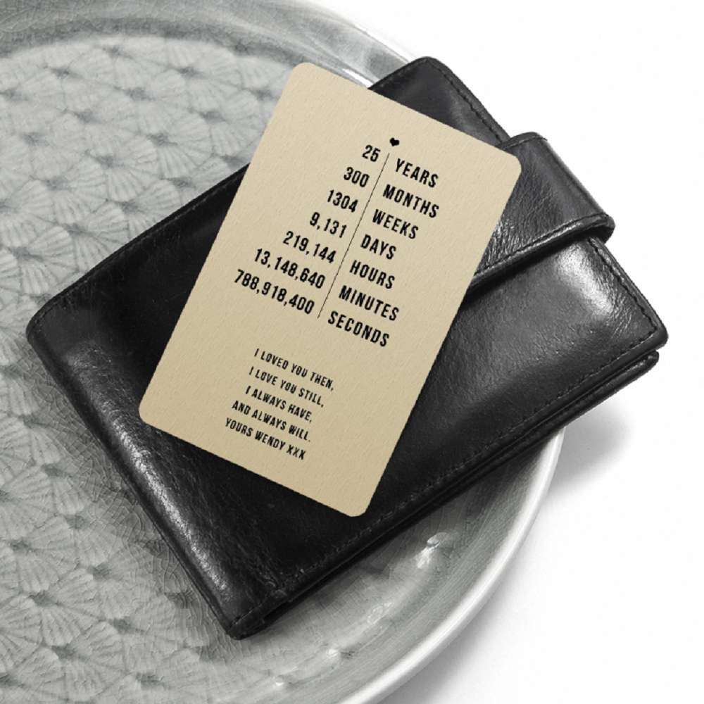 "Personalised ""Years, Months, Weeks ... Since We"" Wallet/Purse Insert"