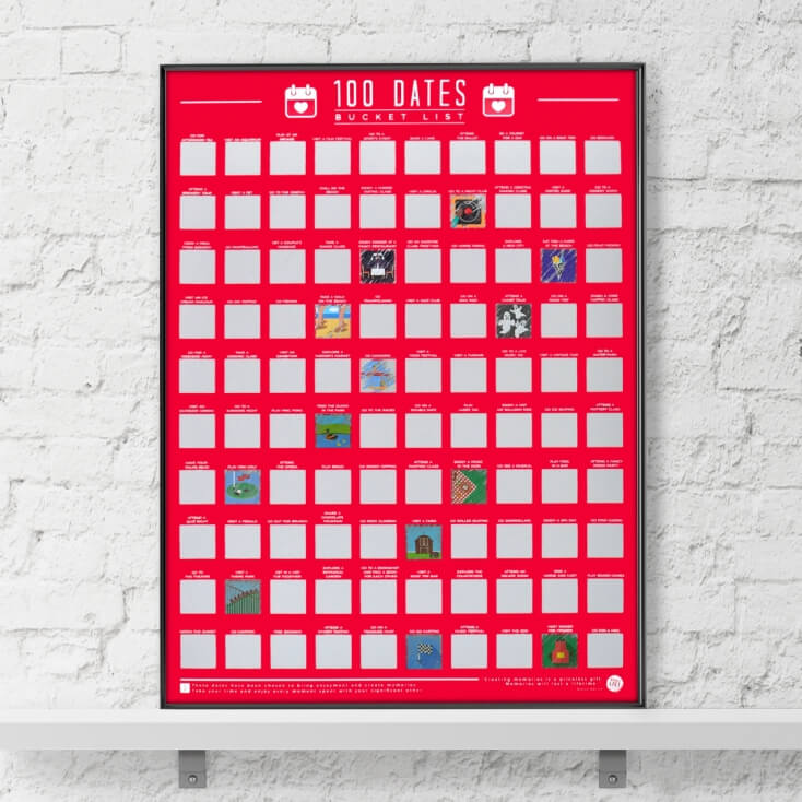 100 Dates Scratch Off Bucket List Poster